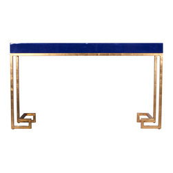 """Worlds Away - Worlds Away Barsanti Gold Leaf & Navy Lacquer Console - The Worlds Away Barsanti console captivates with a striking Greek key motif. Beneath a navy lacquered tabletop, shimmering gold leaf legs make a geometric statement. 60""""W x 16""""D x 34""""H; Navy blue lacquer; Gold leaf iron legs"""