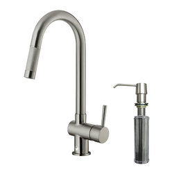 VIGO Industries - VIGO Stainless Steel Pull-Out Kitchen Faucet with Soap Dispenser - Improve the look of your kitchen by adding a stylish and durable VIGO faucet.