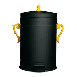 TRASH chic - Trash-Chic gives garbage a decorative disguise with handle and lid accents that exude luxury and elegance. The metal dust bin features a pedal operated, rubber lined lid that conceals all that you don't want seen or smelled. Painted Black with Yellow handle accents, this Trash-Chic is a tres chic addition to modern living spaces.
