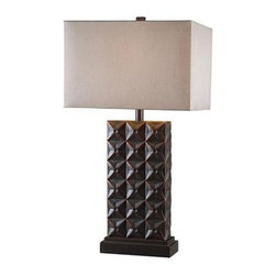 Kenroy Home - Kenroy Home 32211 Cross Hatch Table Lamp in Bronze Finish - Kenroy Home 32211 Cross Hatch Table Lamp in Bronze Finish with Copper HighlightsA handsome, repetitive geometric pattern, and a classic stepped base, Cross Hatch adds texture and visual weight to a design scheme.Kenroy Home 32211 Features: