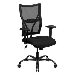 Flash Furniture - Hercules Series Big & Tall Black Mesh Office Chair with Arms - This attractive Big & Tall Mesh Office Chair has been tested to hold up to 400 lbs.! The flexible mesh back material and waterfall seat provides amazing comfort throughout the day. This chair allows you to adjust the amount of lumbar pressure with the built-in lumbar support. This mesh back chair has a sturdy frame with its heavy duty steel base and dual wheel carpet casters.