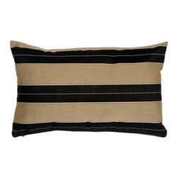 Pillow Decor - Pillow Decor - Sunbrella Berenson Tuxedo 12 x 20 Outdoor Pillow - Mocha beige linen-look fabric with wide black horizontal stripes. A soft and stylish pillow for your outdoor furniture. This bold neutral scheme complements the other neutral fabrics in this series of pillows. Berenson Tuxedo outdoor fabric, made by Sunbrella.