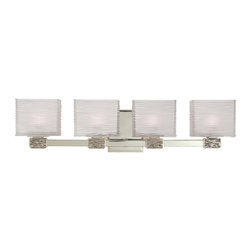 Hudson Valley Lighting - Hudson Valley Lighting Hartsdale Contemporary Bathroom/Vanity Light - A clean lined design with plenty of visual texture, this Hudson Valley Lighting bathroom light is a welcome addition to any setting. From the Hartsdale Collection, this vanity light features multiple clear glass shades with white interiors paired with your choice of either a Satin Nickel, Old Bronze or Polished Chrome finish.