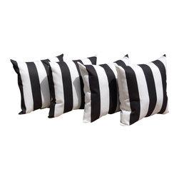 Land of Pillows - Mill Creek Finnigan Vertical Stripe Black & White Outdoor Throw Pillow -Set of 4 - Fabric Designer - Mill Creek