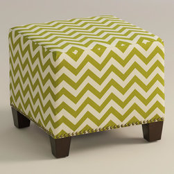 "World Market - Green Zigzag McKenzie Ottoman - Cozy up with our custom-made Green Zigzag McKenzie Ottoman, handcrafted in the U.S.A. with cotton upholstery and nail head trim. Showcasing a grassy green and ivory chevron print, this plush ottoman makes a bold statement. Pair two ottomans for a dramatic ""bench"" at the foot of the bed. Shop our coordinating bed or headboard in the same custom fabric for a pulled together look."