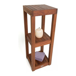 """Aqua Teak - Square Three Tier Teak Bath Stand - From the Spa Collection - This beautiful Aqua Teak shelving unit is made with sustainably harvested teak wood that has no direct impact on the natural environment. You can use it as a teak shower stand or an accent shelf for any room! Naturally water resistant, this teak storage shelf can be used either indoors or outdoors. With three sturdy solid teak shelves, there is plenty of room for either storage or display, and the adjustable rubber padded feet provide safety and stability in any location. You will love the elegance and convenience of this teak shelving unit! We offer a 30 day satisfaction guarantee and 5 year warrantee on all of our products. (Some assembly required) Dimensions: 12""""w x 33.5""""h x 12""""d"""