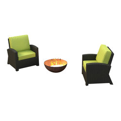 Forever Patio Barbados 2-Piece Outdoor Rattan Set with Lime Green Sunbrella Cush