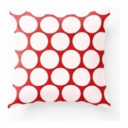 5 Surry Lane - Red White Large Dot Pillow - Go bright and bold with this polka-dotted pillow in red and white. The palette is chic and easy to work throughout your modern home, yet still offers a playful pop.