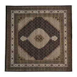 1800-Get-A-Rug - Square Black Tabriz Mahi Wool and Silk Handmade Oriental Rug Sh19805 - Our fine Oriental hand knotted rug collection consists of 100% genuine, hand-knotted and hand-woven rugs from Persia, China, and other areas throughout Asia. Classic, traditional, and offered in a wide range of elaborate designs, every handmade rug is guaranteed to serve as a beautiful and striking element in any interior setting.