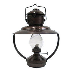 "Handcrafted Nautical Decor - Antique Iron Trawler Oil Lamp 10"" - Nautical Decor - Our versatile Mini Trawler Cabin lamp is solid antique brass and stands 10"" from base to hanger and is 8"" wide. Hand made, these distinctive lamps deflect heat as well as light downwards. They are perfect to hang anywhere you need directional lighting. These well made replicas of the classic ships cabin lamp will enhance the decor of any home or ships cabin."