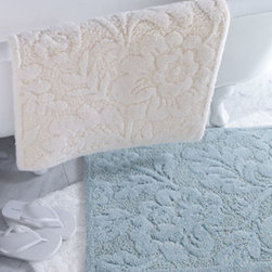 "Horchow - Brighton Bath Rug, Approx. 23"" x 39"" - Plushly textured bath mats in an oversized floral design are made in Portugal. Combed cotton/acrylic. Machine wash. Choose color below."