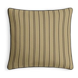 Beige & Black Hairline Stripe Custom Throw Pillow - Every decorator knows: it's the details that make a room.  That's why we love the Microcord Throw Pillow with a thin piped edge that adds just a hint of color. We love it in this classic neutral beige cotton woven stripe with black and white pinstripes.