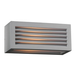 "PLC - Madrid 10"" Wide Silver Outdoor Wall Light - Add handsome style to your home's exterior with this slatted-look silver outdoor wall light. The hard-edge rectangle metal face lets light escape through the front and the bottom diffused by warm opal acrylic. Ideal for illuminating porches patios decks and more. Modern outdoor wall light. Metal construction. Silver finish. Opal acrylic diffuser. 10"" wide. 4 1/4"" high. Extends 4"". Maximum one 60 watt bulb (not included).  Modern outdoor wall light.   Metal construction.   Silver finish.    Opal acrylic diffuser.   10"" wide.   4 1/4"" high.   Extends 4"".   Maximum one 60 watt bulb (not included)."