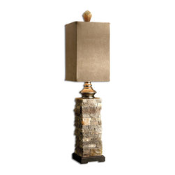 Uttermost - Uttermost Andean Buffet Lamp - Uttermost Andean Buffet Lamp is a part of Carolyn Kinder Collection by Uttermost This striking lamp has the look of layered stone in varying tones of ivory and brown. The square box shade is a brushed palomino suede textile. Lamp (1)