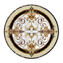 Medallions Plus - Beautiful Waterjet Floor tile waterjet Medallion Inlay Marble - We are proud to offer you this high quality waterjet medallion. This and all of our medallions are made with the finest natural stones. The utmost attention to quality and detail goes into each and every product we offer.
