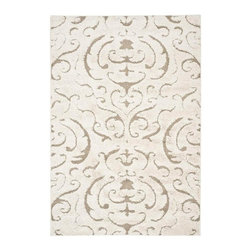 Safavieh - Loomed Shag Rug with Low Pile (7 ft. 6 in. x 5 ft. 3 in.) - Size: 7 ft. 6 in. x 5 ft. 3 in. Flokati design. Raised high low pile. Made from polypropylene. Cream and beige color. Pile height: 1 in.