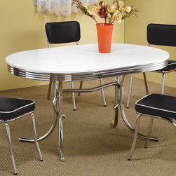 "Coaster - Oval Retro Dining Table in White - This retro chrome plated oval table displays distinctive styling. Table features a white finish and chrome rimmed top.; Contemporary Style; Finish: White; No assembly required.; Dimensions: 60""L x 36""W x 29.5""H"