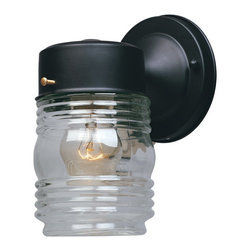 Designers Fountain - Designers Fountain 2061-BK Jelly Jar Wall Light - Black Finish, Clear Glass/Shade