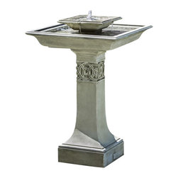Campania - Portwenn Garden Water Fountain, Copper Bronze - With distinctly superior design, this Portwenn Fountain is irresistibly appealing with its intricate detailing. The water falls over the first square tier and into the bottom square tier, and the pedestal features a stunning design around it. This lovely, cast stone garden fountain will grace your garden for years to come.