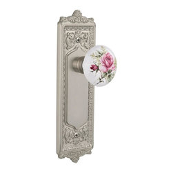"""Nostalgic - Nostalgic Mortise-Egg and Dart Plate-Rose Porcelain Knob-Satin Nickel - With its distinctive repeating border detail, as well as floral crown and foot, the Egg & Dart Plate in satin nickel resonates grand style and is the ideal choice for larger doors. And, nothing says """"vintage"""" like the traditional floral illustration of the White/Rose Porcelain Knob. All Nostalgic Warehouse knobs are mounted on a solid (not plated) forged brass base for durability and beauty."""