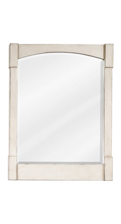 """Hardware Resources - Elements Mirror - 26"""" x 34"""" French White mirror with beveled glass -"""
