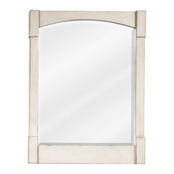 "Hardware Resources - Elements Mirror - 26"" x 34"" French White mirror with beveled glass"
