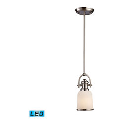 Elk Lighting - Landmark Lighting Brooksdale 66161-1-LED 1-Light Pendant in Satin Nickel - LED O - 66161-1-LED 1-Light Pendant in Satin Nickel - LED Offering Up To 800 Lumens belongs to Brooksdale Collection by Landmark Lighting Blending Vintage Design Elements With Today'S Casual Living, The Brooksdale Collection'S Functional Beauty Allows For Use In A Variity Of Decors. - LED Offering Up To 800 Lumens (60 Watt Equivalent) With Full Range Dimming. Includes An Easily Replaceable LED Bulb (120V). Pendant (1)