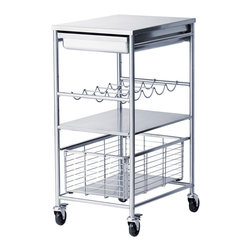 Grundtal Kitchen Cart - Ikea has a ton of great cart options, but the Grundtal is one of my favorites. It's extremely useful in a small kitchen for extra storage and prep space. I also think it makes a great bar cart. You can store wine bottles horizontally on the rack and keep cocktail napkins and other linens handy in the basket underneath. And it can be rolled into any room. It's perfect.