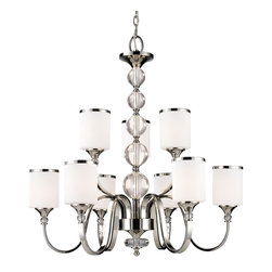 Z-Lite - Z-Lite Cosmopolitan Chrome 9 Light Chandelier - Layer the ShineFrom crystal balls to reflective chrome - this light fixture is eye-catching and glamorous! It's also quite classically modern, for a stunning chandelier in your front entry hall or anywhere else you have soaring ceilings. Each sloping arm has a sleek, simple lampshade made of frosted glass with a glistening chrome rim. Contemporary style never looked so chic.Frame crafted from metal with a chrome finishGlass cylinder lampshades includedCrystal ball accents120-inch adjustable hanging chainRequires nine (9) 60-watt light bulbsHardwired for installationMatches the other lights in the Cosmopolitan Collection