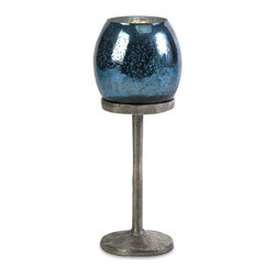 iMax - iMax Ocean Blue Medium Candlestick Votive X-12202 - This medium ocean blue candlestick has an ultra classic mercury glass votive resting on a textured aluminum stand. Looks great with coordinating candleholders for any season!