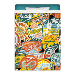 "Eco Friendly ""California Vintage Surf Stickers"" Twin Size Sheet Set - Our ""California Vintage Surf Stickers"" Twin Size Surfer Sheet Set is made of a lightweight microfiber for the ultimate experience in softness~ extremely breathable!"