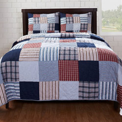 Cottage Home - Bradley Red/ Blue Patch 3-piece Quilt Set - This handmade quilt set brings a classic patchwork look into any bedroom. Bold but calm, this quilt combines a wonderful range of blues and reds showcased in a variety of patterns.