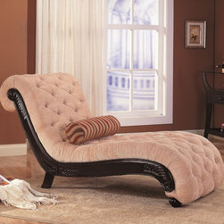 Accent Seating Traditional Chaise with Button Tufting and Carved Wood Trim - Accent Seating Traditional Chaise with Button Tufting and Carved Wood Trim by Coaster Sku: 550064N