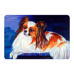 Caroline's Treasures - Papillon Kitchen Or Bath Mat 24X36 - Kitchen or Bath COMFORT FLOOR MAT This mat is 24 inch by 36 inch.  Comfort Mat / Carpet / Rug that is Made and Printed in the USA. A foam cushion is attached to the bottom of the mat for comfort when standing. The mat has been permenantly dyed for moderate traffic. Durable and fade resistant. The back of the mat is rubber backed to keep the mat from slipping on a smooth floor. Use pressure and water from garden hose or power washer to clean the mat.  Vacuuming only with the hard wood floor setting, as to not pull up the knap of the felt.   Avoid soap or cleaner that produces suds when cleaning.  It will be difficult to get the suds out of the mat.