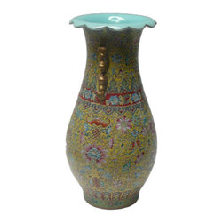 """Golden Lotus - Chinese Yellow Base Canton Famille Porcelain Vase - Dimensions:   Dia 8"""" x h15"""""""
