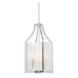 Minka Lavery - Minka Lavery 4392-77 Clarte Chrome 3 Light Pendant - White Iris Glass Shade
