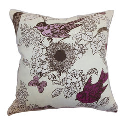 """The Pillow Collection - Ouvea Birds Pillow Lilac 18"""" x 18"""" - Create a new look for your interiors with this unique and interesting throw pillow. This accent pillow comes with an intricate flora and fauna scene. The pattern combined with a rich lilac, and white color palette makes this a perfect accessory for your sofa, chair or seat. Play with different patterns, colors and textures for a unique decor style. This square pillow is made from a blend of high-quality materials: 5% linen and 95% cotton fabrics. Hidden zipper closure for easy cover removal.  Knife edge finish on all four sides.  Reversible pillow with the same fabric on the back side.  Spot cleaning suggested."""