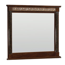 Standard Furniture - Standard Furniture Venetian Rectangular Mirror in Cherry - Inspired by the romantic history of Old Venice, the Venetian bedroom collection is splendid with visually rich surfaces and decorative elements. Available in either a black or cherry finish, this collection focuses on intricate detail and traditional design. Stately Queen and King beds have flat top crowns with showy egg and dart moldings, while headboards are offered with framed grain panels or panels tufted and upholstered in leatherette PU fabric. The night stand, dresser, and cabinet drawers all feature French dovetail joinery and cast metal bail handles for easy usage. Beautiful faux-marble pattern adorns the half round split columns and each case's surface. For as much style and decoration as this collection boasts, its build is equally impressive with sturdy construction that uses engineered wood products wrapped in laminate veneers. This is a bedroom collection that can dress up your master suite and remain durable. Bring all the timeless, traditional pieces back with the Venetian collection.