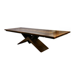 "Venus Live Edge Dining Table - Modern Sculpture base. Top has Book Matched, Live Edge Claro Walnut and Quilted Big Leaf Maple boards. Available with leaves that fit on the ends of top as shown or in the middle or with a solid slab top. Size shown is 45"" x 88'"" opens to 120"""