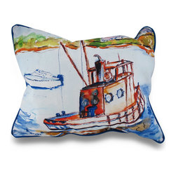 Zeckos - Betsy Drake Rusty Boat Fishing Vessel Throw Pillow 16 x 20 - This harbor inspired throw pillow adds a beautiful pop of color accenting your home inside or out in tropical style! with original artwork designed by artist Betsy Drake, a rusty, yet seaworthy comes to life in water-color style on this blue pillow that's perfect for your living room sofa or the Adirondack chair on the patio and has a complementing bright blue backing and piping around the edges. The 100% polyester cover is water repellent and it's filled with 100% polyester fiber. Measuring 20 inches high by 16 inches long , it would look amazing by a pool area, in the guest room or just tossed on the bed, and is made with pride in the U.S.A. It is recommended to spot clean only. This bright and cheerful throw pillow would make an excellent housewarming gift for any nautical decor fans!