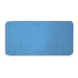 Ginsey - Ginsey Cushioned Bath Mat in Blue - This cushioned tub mat is comfortable and soft on your feet or when baby is sitting in the tub taking a bath. It stays in place with slip-resistant suction cups, and is porous so water drains right through.