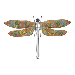 Benzara - Regal and Classic Style Colorful Metal Dragonfly Wall Home Decor - Description: