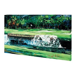 """Signature Hole 30x40 Print - """"Signature Hole"""" is a golf canvas giclee by Joseph LaPierre.  This 30x40 canvas is gallery wrapped . We take the fine art canvas and stretch it over a wooden frame, adhering the canvas to the backside of the frame. The canvas actually wraps around the edges of the frame, giving your print the look of a fine piece of art, such as you might find in an art gallery. There is no need for a picture frame. Your piece of art is ready to hang or lean against a wall, or display on an easel."""
