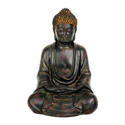 """Oriental Furniture - 9"""" Japanese Sitting Buddha Statue - Classic Japanese design meditating Buddha statue, similar to the famous """"Kamakura Buddha"""" at the popular shrine in Kamakura, Japan. Crafted with remarkable detail, each piece is hand finished with a beautiful, authentic looking faux bronze antique patina. Buddhist art strives to create the experience of calm and serenity in the viewer, and this Buddha statue strives to bring that same feeling to the rooms where they're placed, in the home or office."""