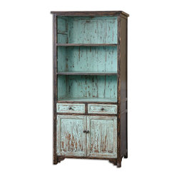 Uttermost - Dunixi Distressed Bookcase - Hand finished and distressed in vibrant, robin's egg blue with black outer edges and overtones chipped away to reveal highlights of the natural, reclaimed fir wood grain.