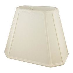 American Heritage Shades - Fabric Lampshade in Eggshell (18 in. Diam x 14 in. H) - Choose Size: 18 in. Diam x 14 in. HLampshade Types. Shantung faux silk with off-white fabric liner. Hand made. Matching top, bottom and vertical trim. Corner cut rectangle shape. Fitter type: 1 in. drop and washer for harp fitter. Enhances lamp and room decor. Made from polyester. Fitter in brass color. Made in USA. No assembly required