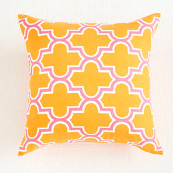 PillowsMediterranean Pillow Cover - Orange - Graphic pillows are the simplest way to update a room. Add a few to your sofa, arm chair, and bed; instant makeover! This one features a design inspired by Moorish tiles and comes in a few vibrant colors so you can spread them out around the house. Each cover is made of 100% cotton.