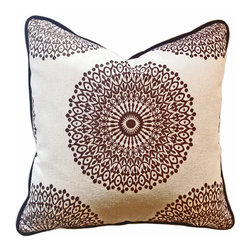 HOME MOTIF Boutique Collection - Kaleidoscope - Dark Brown and Off White Pillow 20x20 - This beautiful pillow is custom-made out of designer fabric and has a down insert.  The welt and pillow back is a luxurious chocolate brown velvet.  The cover zips off for easy cleaning.  Dry Cleaning recommended.