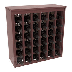 36 Bottle Deluxe Wine Rack in Pine with Walnut Stain + Satin Finish - Great start or addition to wine rack furniture, this wooden wine rack is designed to look like a freestanding wine cabinet. Solid top and side enclosures promote the cool and dark storage area necessary for aging your wine properly. Your satisfaction and our racks are guaranteed.