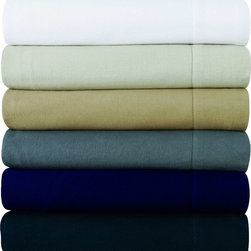 None - Luxury 200-GSM Flannel Hemstitched Deep Pocket Sheet Set or Pillowcase Separates - Keep warm on even the coldest of nights in this luxuriously cozy hemstitched flannel sheet set. The cotton construction provides effortless care with a soft touch in gorgeous rich tones that will will add a touch of sophistication to any bedroom decor.